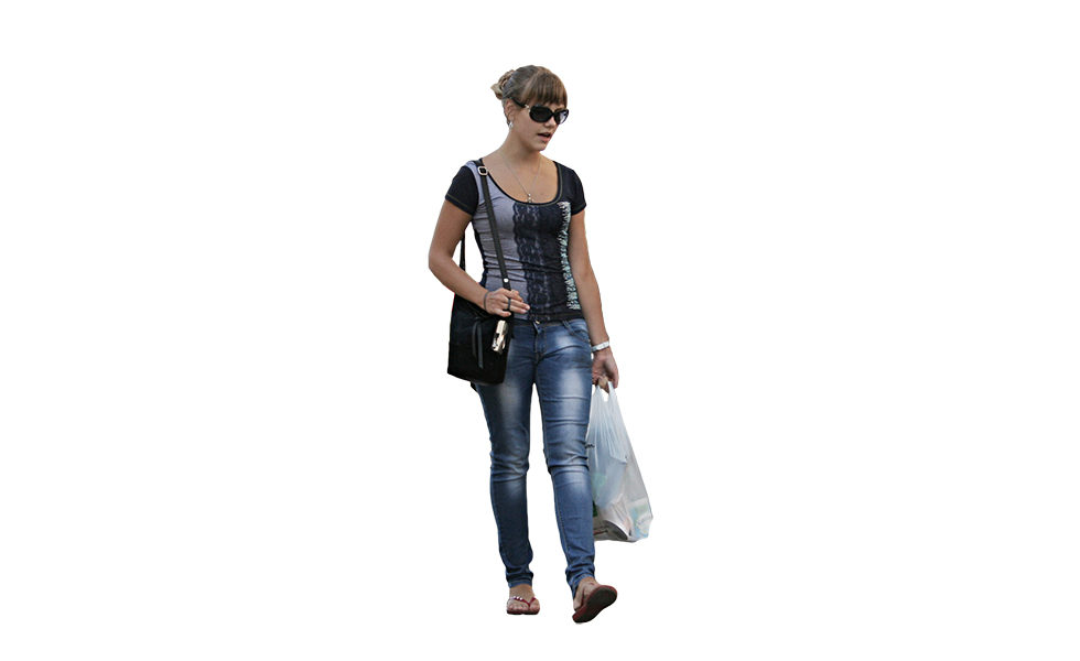 woman shopping free cut out people trees and leaves