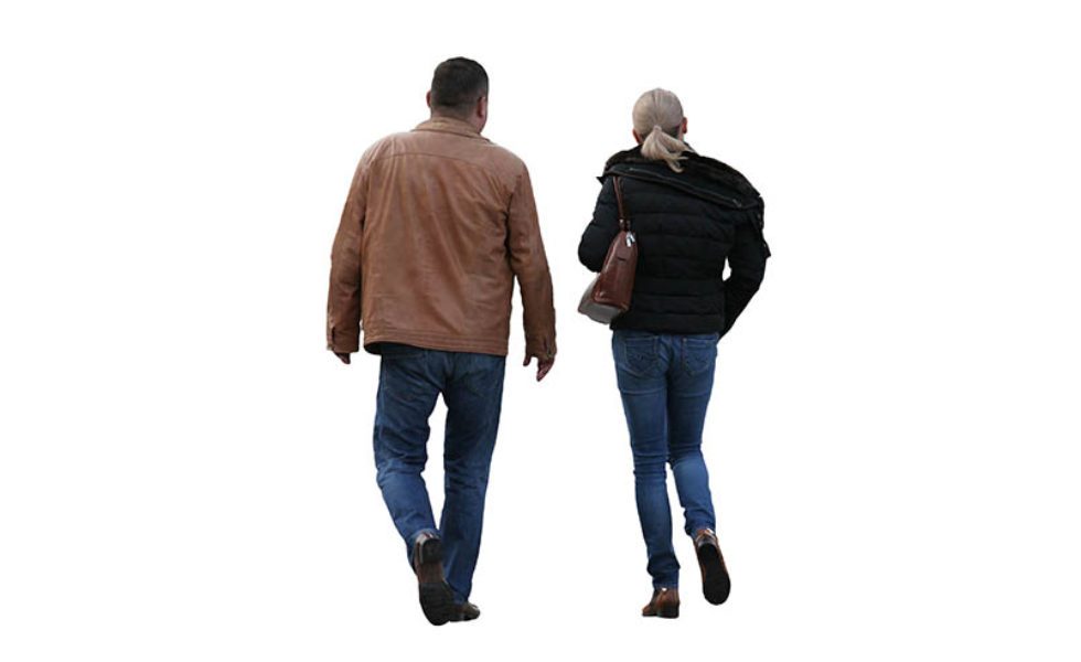 walking couple free cut out people trees and leaves