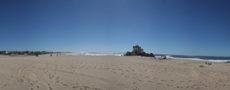 ocean beach with chapel